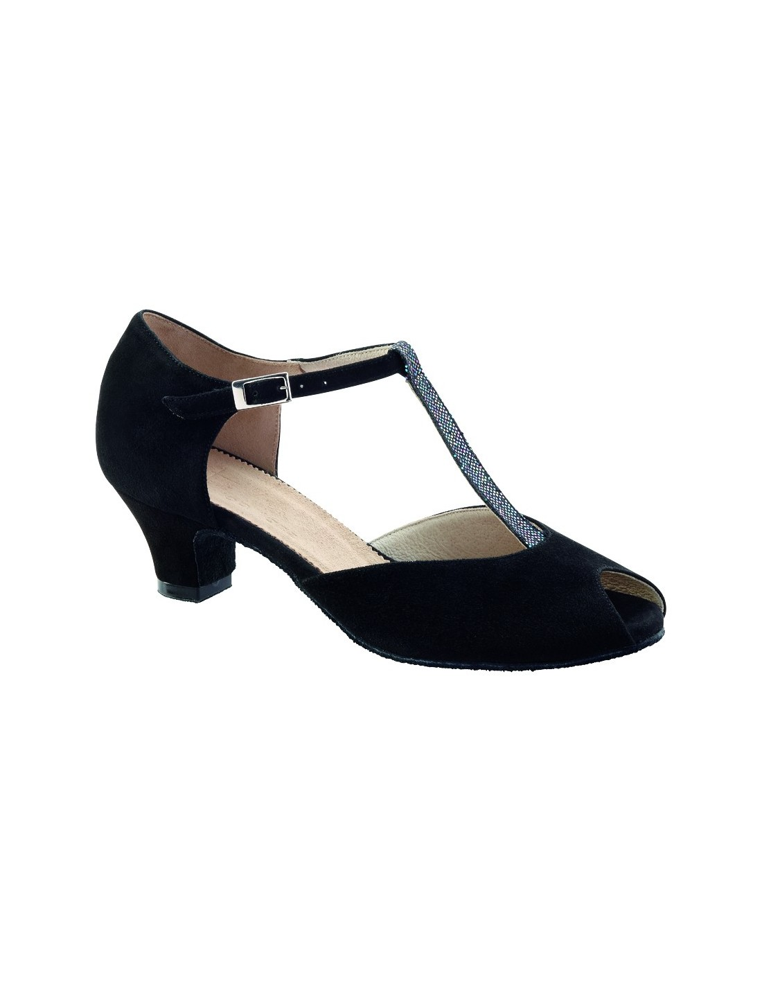 T Bar Low Heeled Black Leather Shoe