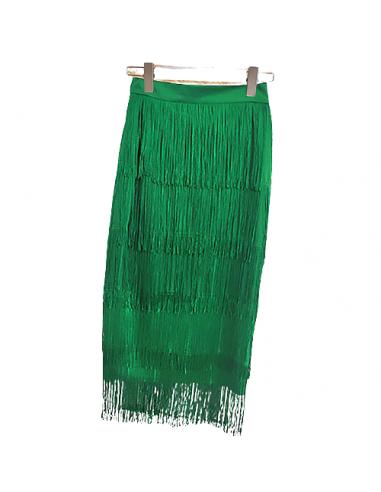 Fransen-Tanzrock grün