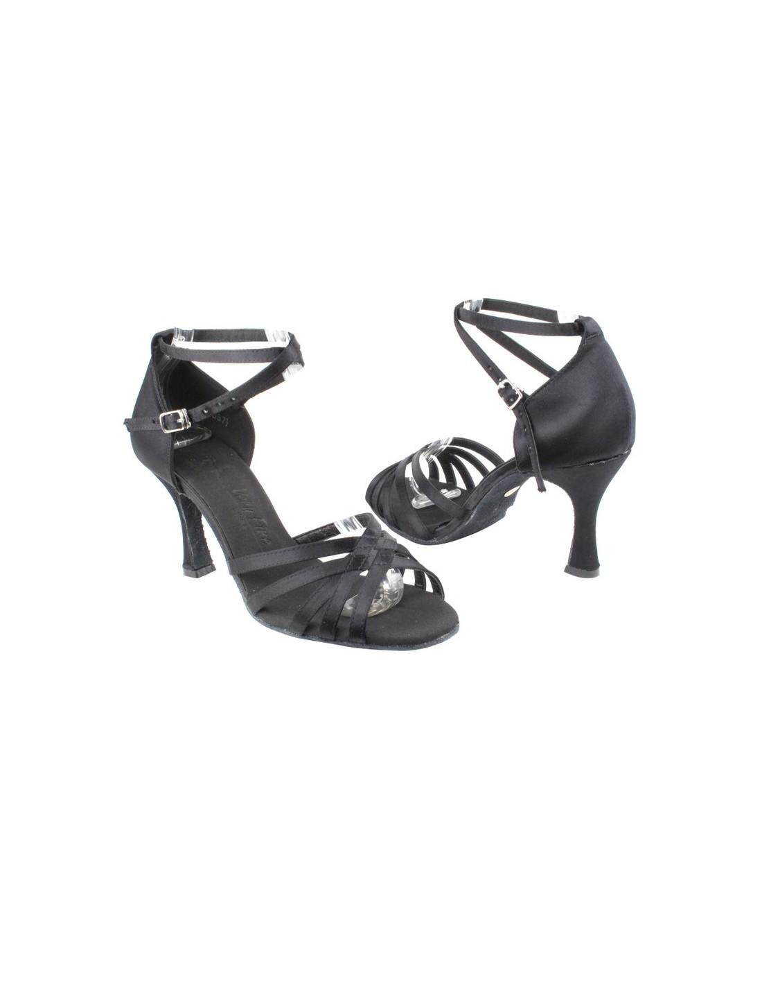 e4528f1de Ladies dance shoe in black satin with ankle strap for salsa ...