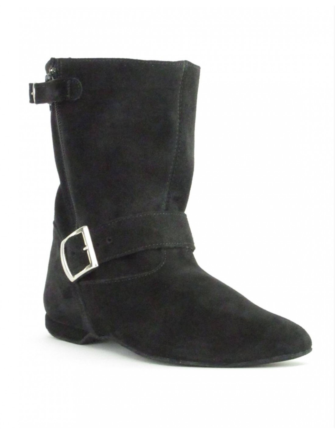 Flat Suede Leather West Coast Swing Ankle Boot With Buckle