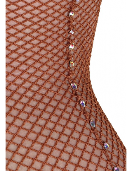 Fishnet dance tights with crystals