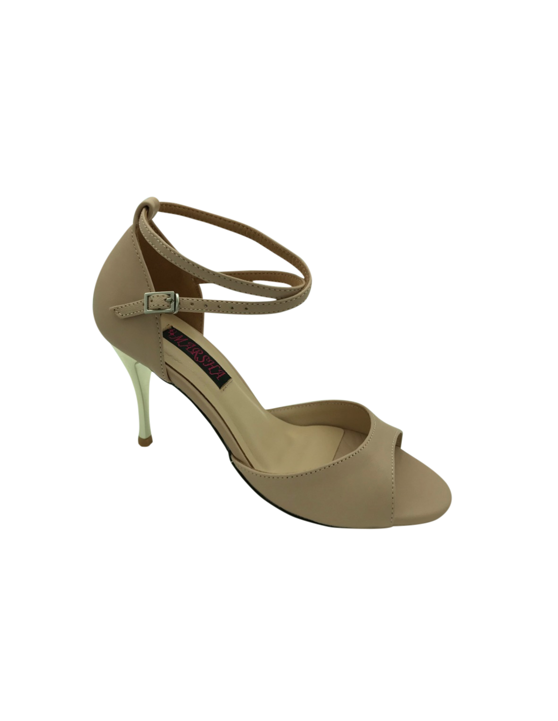5ed3890f55fd Ladies dance shoe in genuine nude beige leather with ankle strap for ...