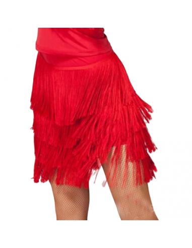Jupe de salsa avec franges en rouge