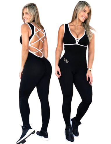 Black Dance jumpsuit white straps